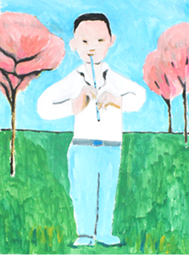 Picture of Boy, Flute & Cherry Trees