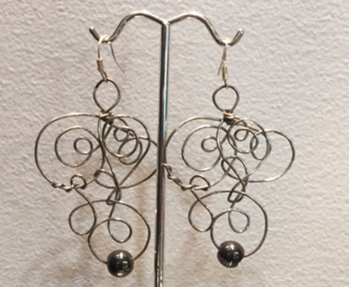 Picture of Wire wrapped swirl earrings
